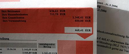 Ungerechtfertigte Nebenkostenabrechnung