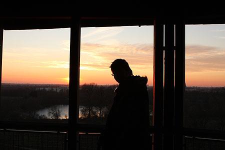 Auf dem Turm von Burg Linn bei Krefeld
