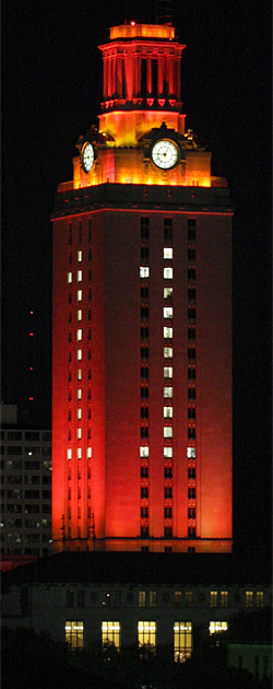University of Texas in Austin Tower, illuminated with 1