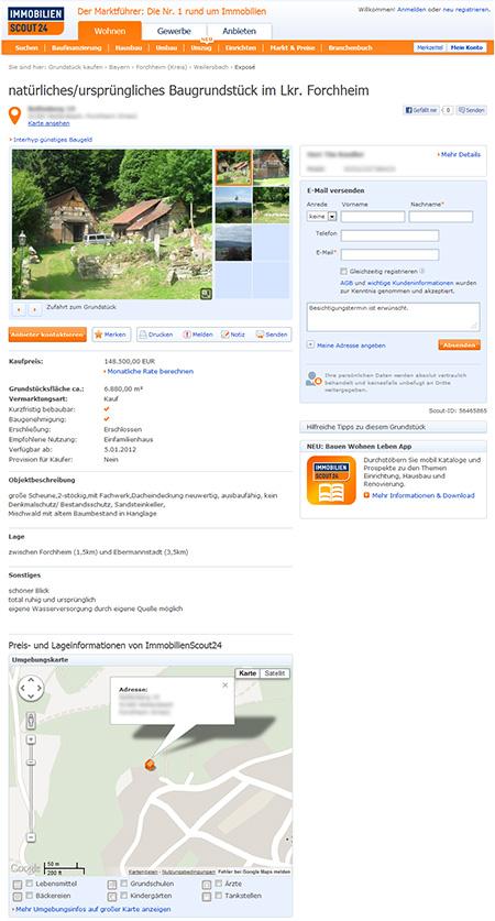 Immobilienscout Anzeige für unser Grundstück
